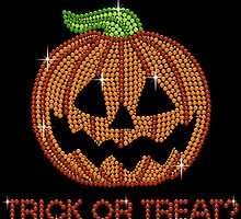 Printed Sparkly Rhinestone Jackolantern Pumpkin by littlegems