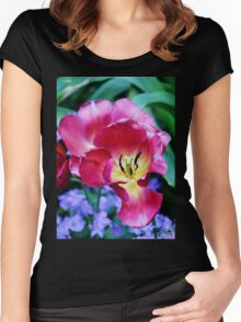 Pink, Yellow And Blue Flowers Women's Fitted Scoop T-Shirt