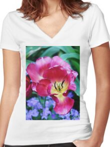 Pink, Yellow And Blue Flowers Women's Fitted V-Neck T-Shirt
