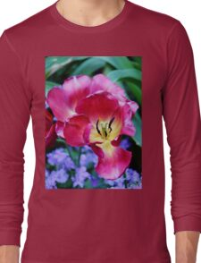 Pink, Yellow And Blue Flowers Long Sleeve T-Shirt