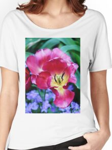 Pink, Yellow And Blue Flowers Women's Relaxed Fit T-Shirt