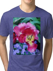 Pink, Yellow And Blue Flowers Tri-blend T-Shirt