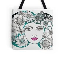 she wore flowers in her hair Tote Bag
