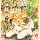 Cat in a Cottage Garden by morgansartworld
