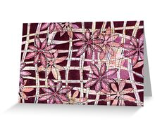 Hand Carved Flowers Burgundy Greeting Card