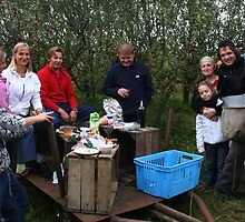 My family after work in my apples plantation by Antanas
