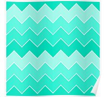 Trendy Teal Gradient Thick Chevron Zigzag Pattern Poster