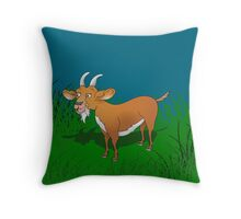 Happy Billy Goat in Field Throw Pillow