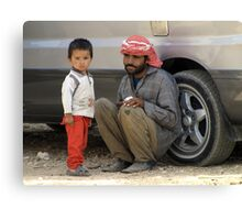 Little man and dad Canvas Print