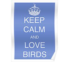 Keep calm and love birds - Delf blue Poster
