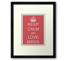 Keep calm and love birds - Old red Framed Print
