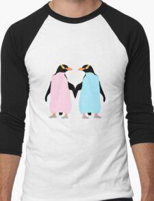 Pastel Penguins holding hands Men's Baseball ¾ T-Shirt