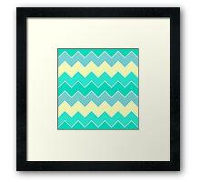 Trendy Yellow Teal Gradient Chevron Zigzag Pattern Framed Print