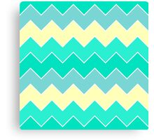 Trendy Yellow Teal Gradient Chevron Zigzag Pattern Canvas Print