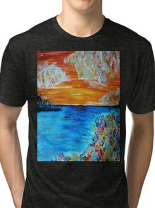 Sunset and Flowers Tri-blend T-Shirt