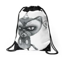 party poop grumpy cat Drawstring Bag