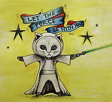 the force star kitty lightsaber  by melaniedann