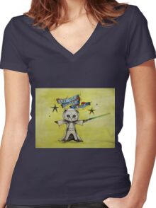 the force star kitty lightsaber  Women's Fitted V-Neck T-Shirt