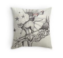 mystic muggy white witch cat  Throw Pillow