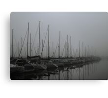 Foggy Morning at Marina Canvas Print