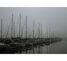 Foggy Morning at Marina Photographic Print