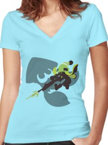 Light Green Female Inkling - Sunset Shores Women's Fitted V-Neck T-Shirt