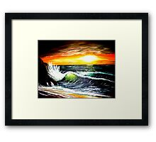 emerald sea at sunset Framed Print