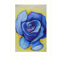 Blue Rose - Oil Pastel Art Print