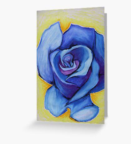 Blue Rose - Oil Pastel Greeting Card