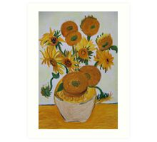 Sunflowers - Oil Pastel Art Print