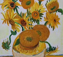 Sunflowers - Oil Pastel by Debbie  Widmer