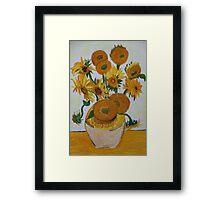 Sunflowers - Oil Pastel Framed Print