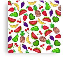 Tutti Fruity Hand Drawn Summer Mixed Fruit Canvas Print