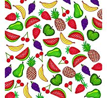 Tutti Fruity Hand Drawn Summer Mixed Fruit Photographic Print