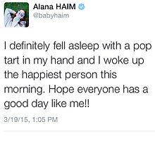 Alana Haim Tweet by SYTIDelRey