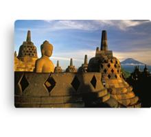 Buddha Statue and Stupas, Borobudur  Canvas Print