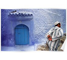Man in Streets of Chefchaouen Medina, Morocco Poster