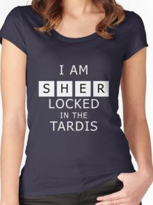 Sherlocked in the Tardis Slate Women's Fitted Scoop T-Shirt