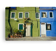 Brightly Painted Houses, Burano, Venice (Italy)  Canvas Print