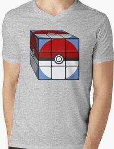 Poke Ball Rubik's Cube Mens V-Neck T-Shirt