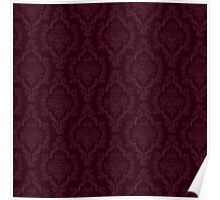 Deep Red Damask Poster