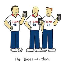 Booze-a-thon, team GB, men drinking beer. by KateTaylor
