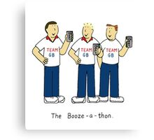 Booze-a-thon, team GB, men drinking beer. Canvas Print