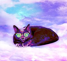 Swag Russian Blue Cat with Rainbow Sunnies 2 by kittiemeow