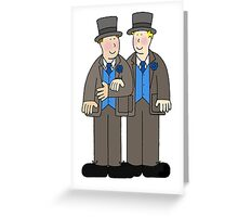 Civil union grooms in top hat and tails. Greeting Card