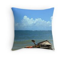 boat adrift in a summer day Throw Pillow