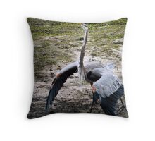Strutting Heron Throw Pillow