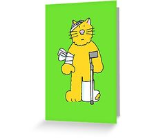 Get Well, cartoon ginger cat on a crutch. Greeting Card