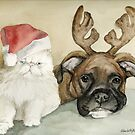 Boxer and Persian Cat Christmas by Charlotte Yealey