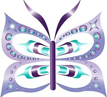 Purple and Blue Nuu-chah-nulth Butterfly by patriciagus